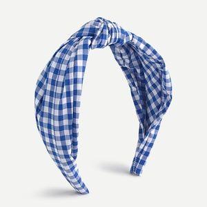 J.Crew Turban knot headband in gingham - Blue